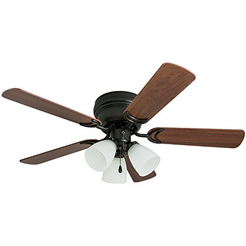 Prominence Home 50864 Whitley Hugger Ceiling Fan with 3 Light Fixture, 42 LED Indoor Low-Profile/Flush-mount, Warm Bronze