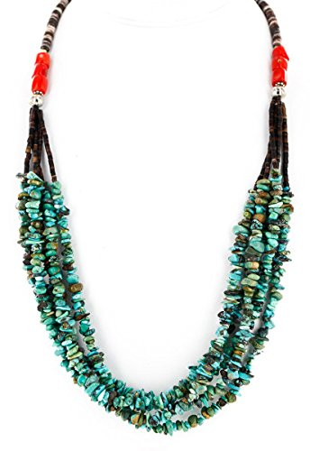 Certified Authentic 5 Strand Navajo .925 Sterling Silver Turquoise Coral and Graduated Melon Shell Native American Necklace