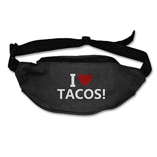 Spanwell Unisex Waist Pack I Love Tacos Flat Fanny Bag Pack For ort Running Travel