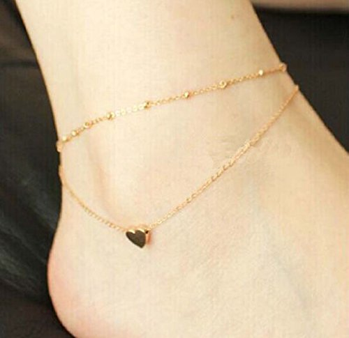 (1pc Gold Tone Double Layer Love Heart Ankle Bracelet Jewelry Chain Pendant Anklet IO6C)