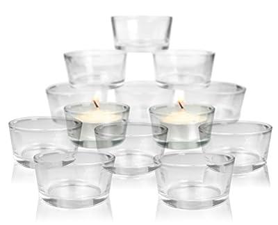 Clear Glass Tea Light Candle Holders Cups - Bulk Set - Centerpiece Weddings Receptions Parties Promotional Events Restaurant Dinner Table