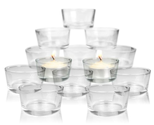 Glass Tea Light Candle Holders - Set of 24 Clear Glass Holders - Bridal Shower - Table Centerpieces - Candle Holders