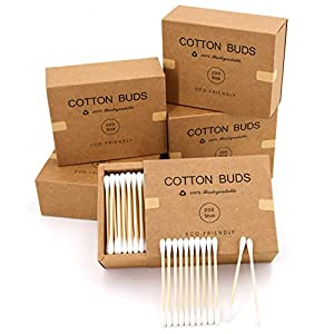 1000 Bamboo Cotton Swabs - Eco Friendly Wooden Cotton Buds, Biodegradable - Craft Paper Packaging 6