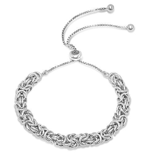 Sterling Silver Byzantine Adjustable Bolo Bracelet ()