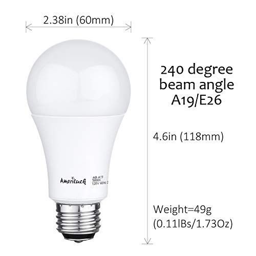 AmeriLuck 5000K Daylight 3-Way LED Light Bulb A19, 40-60-100W Equivalent, Omni-Directional, UL Listed (4 Pack)