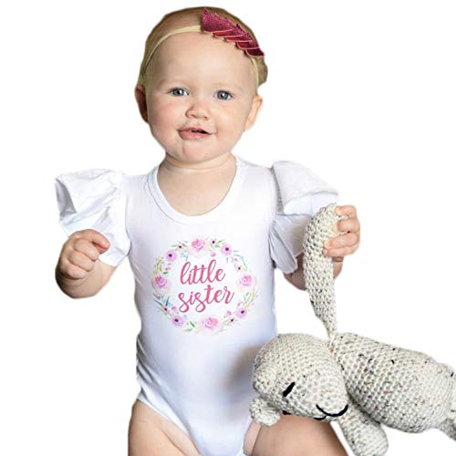 Olive Loves Apple Little Sister Newborn Outfit Flutter Sleeve Bodysuit Matching Sibling Announcement Outfit