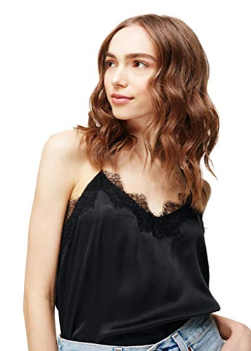 Cami NYC Women's The Racer Charmeuse Silk Top (Black, Medium)