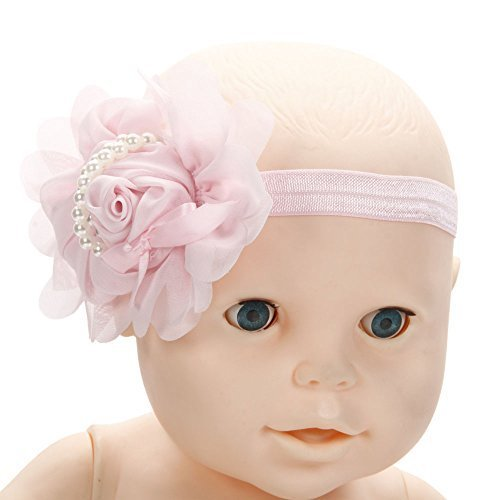 Baby Girl Kid Pearl Chiffon Rose Headband Elastic Hairband Hair Bow Headwear (Pink)