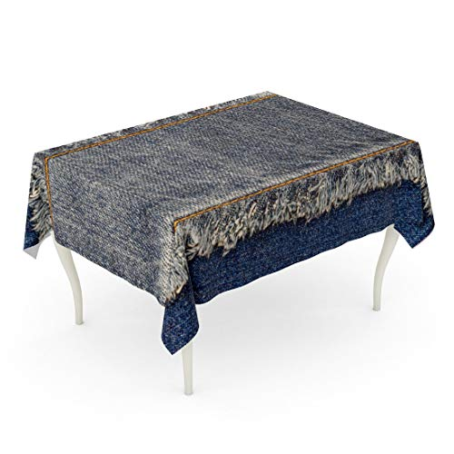 In Blue Jean Denim 90 - Tarolo Rectangle Tablecloth 60 x 90 Inch Denim Blue Jeans Bleached Fringe Edge and Straight Stitch Orange Thread on Text Place Copy Space Worn Casual Double Color Patch Table Cloth