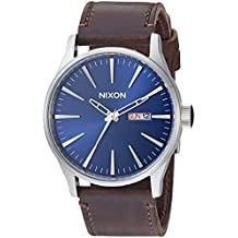 Nixon Men's 'Sentry Leather' Quartz Stainless Steel Sport Watch, Color:Brown (Model: A1051524)