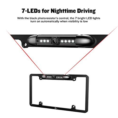License Plate Camera, Esky View 170° Viewing Universal Car Plate Mount Waterproof Sensitive 7 IR LED