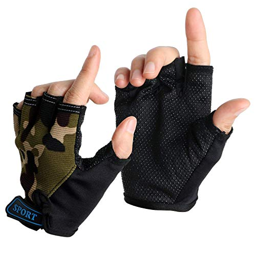 Boy Girl Child Children Kid Half Finger Fingerless Short Shock-absorbing No-Slip Pro Cycling Gloves Mitten for Cycling MTB Exercise Skate Skateboard Roller Skating Other Sports (army green)