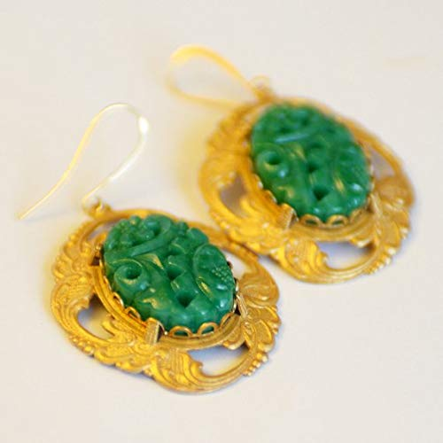 hongnguyen Peking Green Glass and Gilt Brass Earrings, Asian Inspired Jewelry, Post WWII Japanese Glass Jade Green Earrings, SRAJD, JewelryFineAndDandy