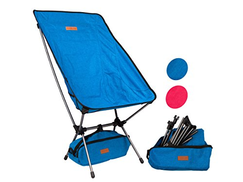Trekology Compact Portable High Back Camping Chair with Head Rest - Ultralight Backpacking Chair in a Bag for Camping, Beach, Backpacking, Fishing, Picnic, Patio, Sports, Events (Blue)