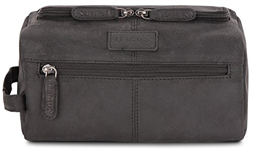 LEABAGS Palm Beach genuine buffalo leather toiletry bag in vintage style - Black by LEABAGS