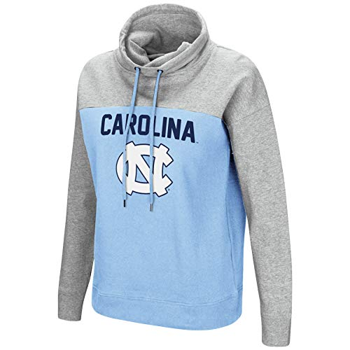 Colosseum NCAA Women's-The Talk-Funnel Neck Pullover Sweatshirt-North Carolina Tar Heels-Carolina Blue-Small (North Carolina Tar Heels String)