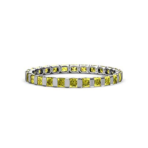 Yellow Diamond 2.5mm Common Channel Set Eternity Band 1.80-2.10 Carat tw 14K White Gold.size 8.0 (Band Tw 2ct Eternity Diamond)