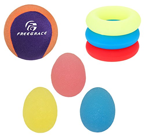 (Freegrace Hand Grip Strengthening Stress Relief Squeeze Balls/Squishy Ball Bundle - Hand Exercise & Therapy Set - Great for Kids, Adults & Elders - Physical Rehabilitation (3 Eggs + 3 Rings + 1 Ball))