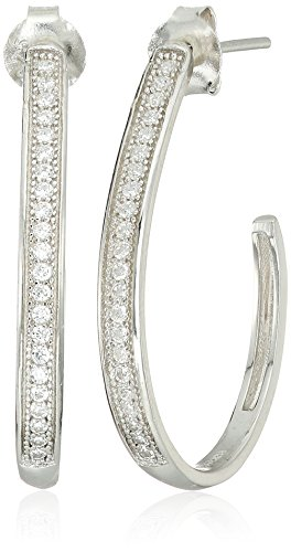 Sterling Silver Cubic Zirconia J-Hoop (Diamond Shaped Hoop)