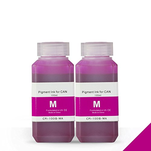 2 Bottles (100ml) Refill Ink - ALLINKTONER Canon Compatible Magenta Pigment for Canon Printers