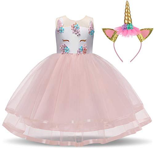 TTYAOVO Girl Unicorn Costume Flower Girls Pageant Princess Party Dress with Headband 7-8 Years Pink for $<!--$22.99-->