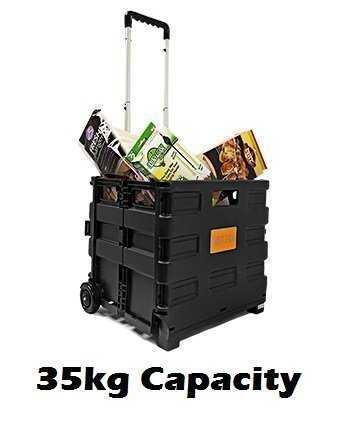 35kg Multi Purpose Heavy Duty Folding Trolley Wheeled Shopping Storage Crate Box By Pilot Imports® (35kg)
