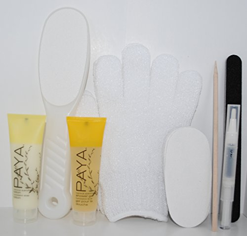Full Body Exfoliator Gift Set - Go Buff Yourself – Nail File Callus Foot File w/Replacement Pads Exfoliating Gloves Orange Wood Stick Cuticle Oil Pen Gel Lotion, Bath Shower Spa Skin Buffer Kit