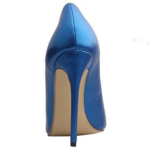 Femme 12CM Glisser Chaussures Escarpins Calaier Cause Bleu sur Aiguille pHwxdqB