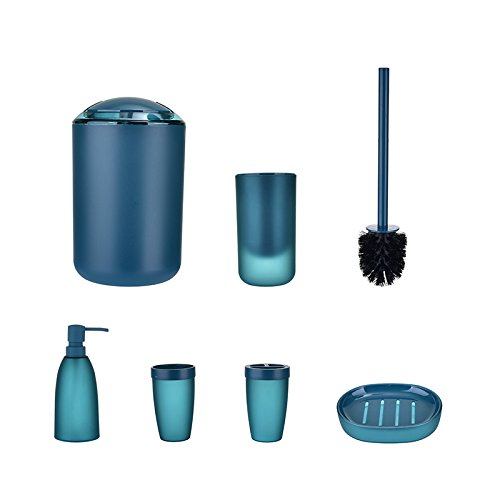 (TiTa-Dong 6 Piece Bathroom Accessories Set,Luxury Plastic Bath and Shower Ensemble Bath Set Gift Collection with Lotion Dispenser,Toothbrush Holder,Tumbler Cup,Soap Dish, Trash Can,Toilet Brush Set )