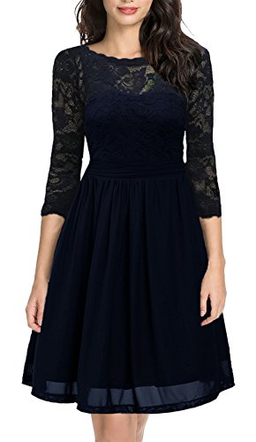 DILANNI Women's Vintage Floral Lace Net 3/4 Sleeve Sexy Swing Dress