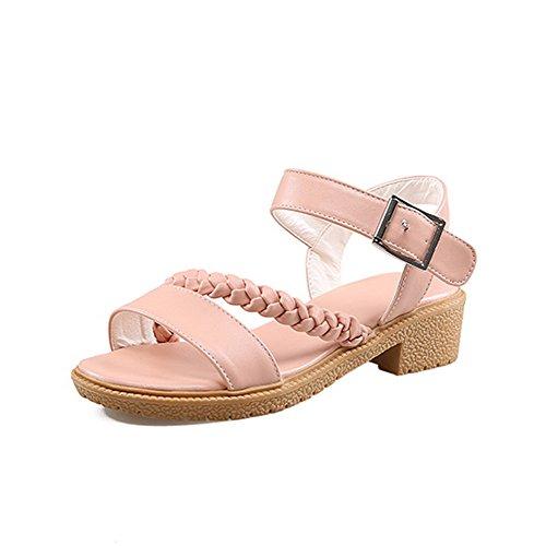 AmoonyFashion Womens Buckle Open Toe Low Heels Pu Solid Sandals Pink