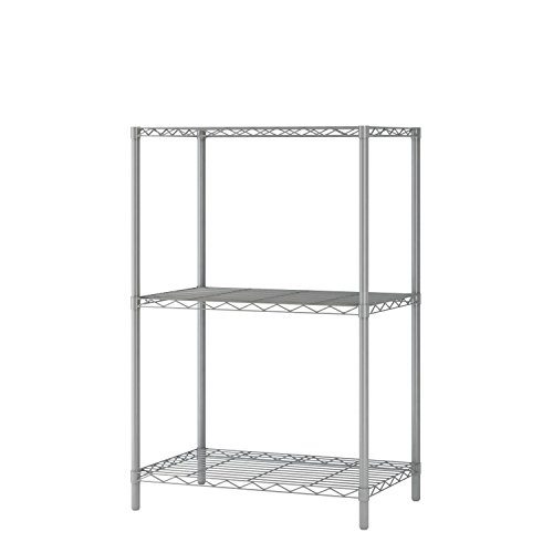 "Homebi Wire Shelving Unit 3 Shelf Metal Storage Rack Durable Organizer with 3-Tiers Wire Shelf in Grey,21""Wx14""Dx32""H (Tall Metal Narrow Shelves)"