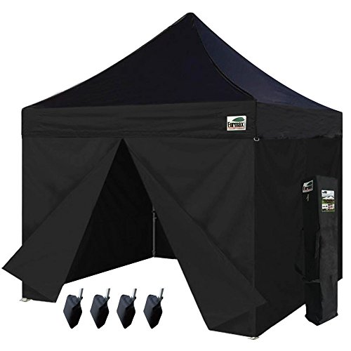 p up Canopy Commercial Party Tent with 4 Zippered Sidewalls and Carry Bag Bonus Canopy Sand Bags, Black (Party Tent Top)