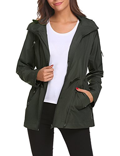 Rain Jacket Light Weight Lined Hoodie Hiking Belt Stylish Short Warm for Women