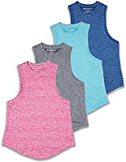 4 Pack: Girls Active Dry Fit Performance Tank Top
