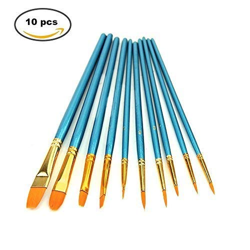 10 Pieces Paint Brush,Morkia Nylon Hair Round and Flat Pointed Tip Art Painting Set for Watercolours Oils Acrylics and Detail Painting