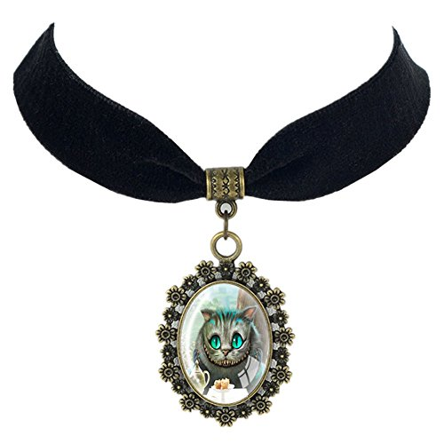 [Linsh Alice Cat Black Velvet Choker Necklace Vintage Necklaces Fashion Jewelry for Womens Girls] (Alice In Wonderland Halloween Decorations)