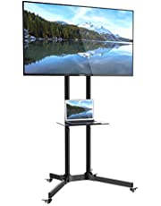 """1home Mobile TV Cart Floor Stand with Tray 