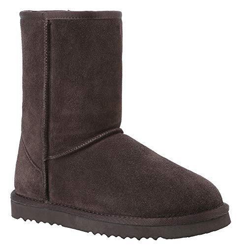 Veilante Waterproof Winter Boots Women-Chocolate Color Mid-Calf Genuine Leather Anti-Slippy EVA Sole Winter Warm Women Shoes with Fur Dark Brown Color US Size 7 Large Size 8 Inches ()