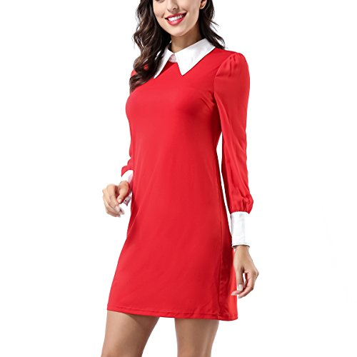 Peter Swing Collar Midi Women's AVTOSRNO Red with Sleeve Dress Long Pockets Pan Loose Casual IqBqS1wxU