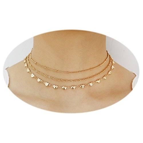 Crystal Heart Chain Necklace - T-Doreen Elegance Multilayer Gold Heart Chains Choker Necklace for Women,13