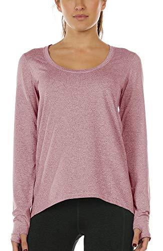 icyzone Trainingsshirts met lange mouwen voor dames en dames, atletische tops, duimgat running yoga shirts