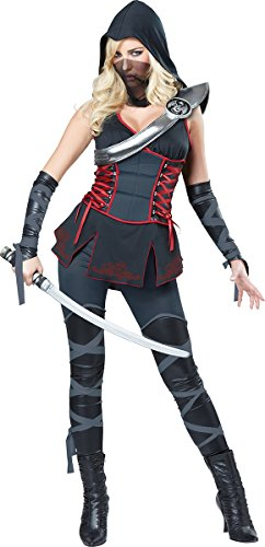 California Costumes Women's Sexy Ninja, Black/Red, X-Large (Cheap Ninja Costumes)