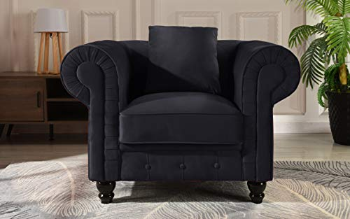 (Classic Scroll Arm Large Velvet Living Room Chesterfield Accent Chair (Black))