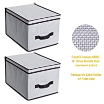 ITIDY Storage-Bins-with-Lids,Durable Canvas Foldable Storage Cube Boxes with Handles & Transparent Label Holder,Large Size, 2pk, Light Gray with Brown Trim
