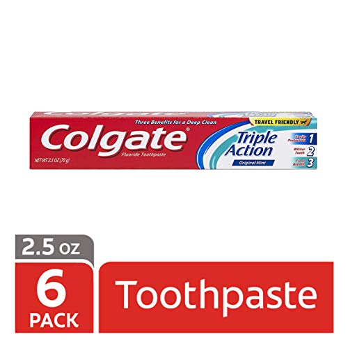 Colgate Triple Action Travel Toothpaste, Mint – 2.5 ounce (6 Pack)