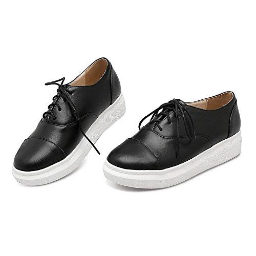 BalaMasa Girls Platform Lace-Up Round Toe Imitated Leather Pumps-Shoes Black u0NF2dfVdD