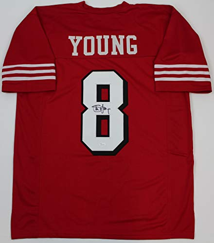 Steve Young Autographed Red San Francisco 49ers Jersey - Hand Signed By Steve Young and Certified Authentic by JSA - Includes Certificate of (Steve Young Hand Signed)