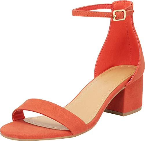 Cambridge Select Women's Single Band Open Toe Buckled Ankle Strap Chunky Block Mid Heel Sandal (8 B(M) US, Burnt Orange NBPU)
