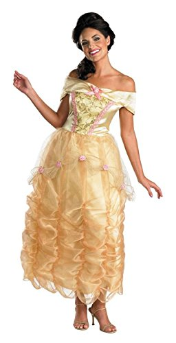 [Disguise Disney Beauty And The Beast Belle Adult Deluxe Costume, Gold/Yellow/Pink, Large/12-14] (Belle Halloween Costumes For Women)